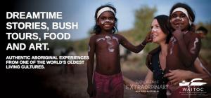 Waitoc Promotion Bild zeigt eine Frau mit zwei Aboriginal-Kindern